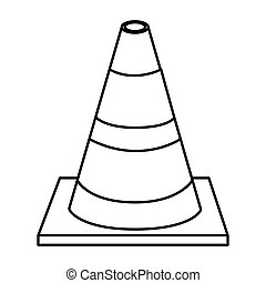 silhouette striped traffic cone flat icon