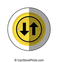 sticker yellow circular frame two way traffic sign