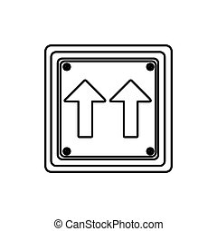 silhouette square shape frame same direction arrow road traffic sign