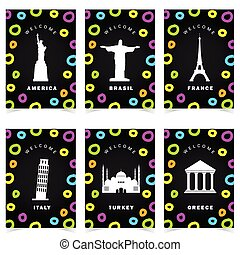 poster with famous historic monuments color set illustration