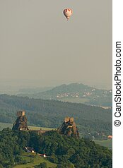 Trosky castle ruins in the Bohemia Paradise on an aerial...