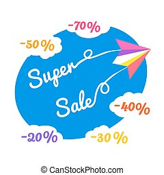 super sale concept - Paper plane. Super sale poster Concept....