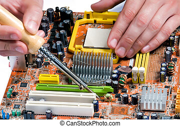 Soldering a circuit board - Process of repair of the...