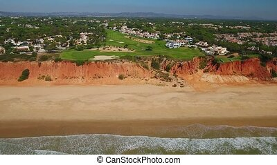 Aerial. Beautiful view of the valley Vale de Lobo. Almancil...