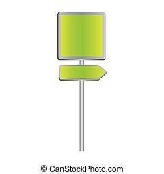 metallic green square shape traffic sign with direction board set