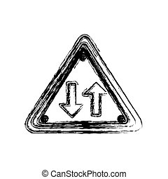 blurred silhouette triangle shape frame two way traffic sign