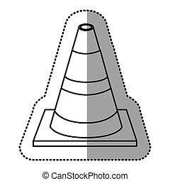 sticker silhouette striped traffic cone flat icon