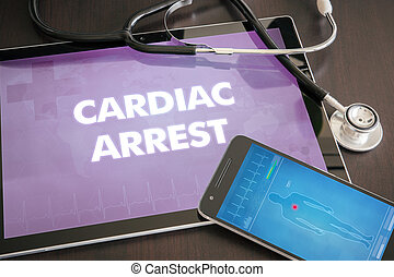 Cardiac arrest (heart disorder) diagnosis medical concept on...