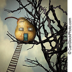 The Pear House - A beautiful surreal imagine representing a...
