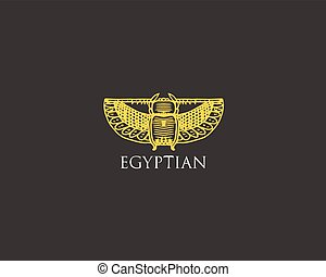 Egyptian logo with Scarab beetle symbol of ancient civilization vintage, engraved hand drawn in sketch or wood cut style, old looking retro insect