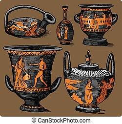 ancient Greece, antique amphora set, vase with life scenes vintage, engraved hand drawn in sketch or wood cut style, old looking retro