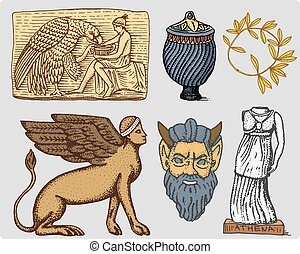 ancient Greece, antique symbols Ganymede and eagle anphora, vase, athena statue and satyr mask vintage, engraved hand drawn in sketch or wood cut style, old looking retro, isolated .
