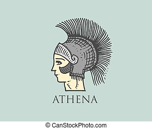 Godness Athena logo ancient Greece, antique symbol vintage, engraved hand drawn in sketch or wood cut style, old looking retro