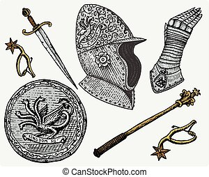 medieval symbols, Helmet and gloves, shield with dragon and sword, knife and mace, spur vintage, engraved hand drawn in sketch or wood cut style, old looking retro