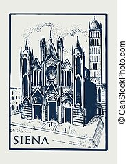 Gotical church in Siena, Tuskany, Italy old looking vintage hand drawn engraved illustration with building and symbol of town cathedral duomo di siena