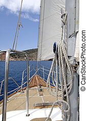 White sail - fragments sail on a yacht