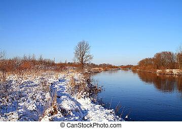 winter snow on field near river