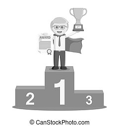 super businessman wins earn trophies and podium black and white color style