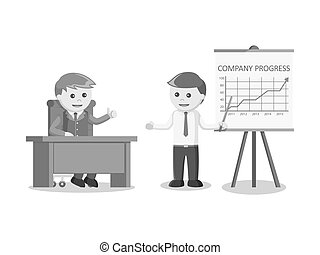 businessman giving company progress presentation black and white color style