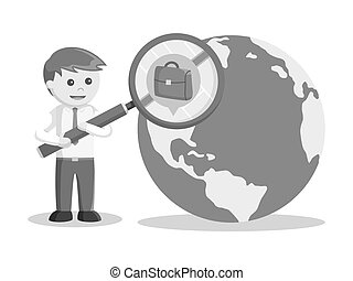businessman searching job in globe black and white color style