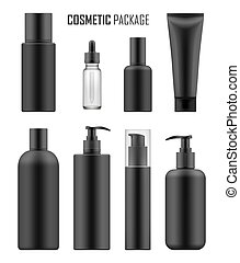 Black packages for luxury cosmetic - Set of realistic black...