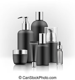 Realistic luxury premium brand set of cosmetic bottles, mockup, 3D