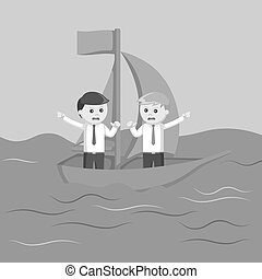 two businessman arguing on a boat black and white color...