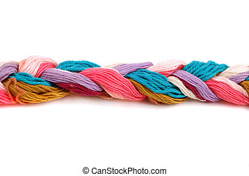 Plait of colour cotton threads for embroidery and...