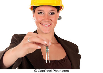 Smiling female building contractor - Attractive young...