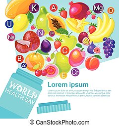 Tube With Vitamins Health World Day Global Holiday Greeting Card