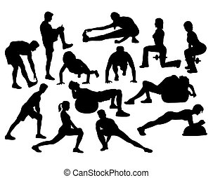Woman Doing Exercises, art vector silhouette design