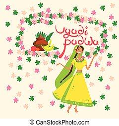 Woman Celebrating Happy Ugadi and Gudi Padwa Hindu New Year...