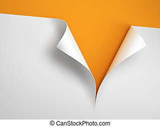 Sheet of paper with the curled corner