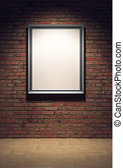 blank frame on the brick wall - blank frame in the gallery,...