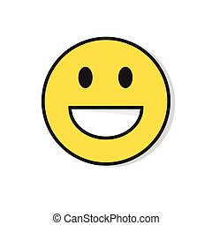 Yellow Smiling Face Positive People Emotion Icon Flat Vector...