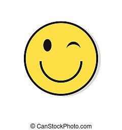 Yellow Smiling Face Wink Positive People Emotion Icon Flat...