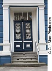 Blue Double Door - Blue Double Door. Shot from L?beck,...