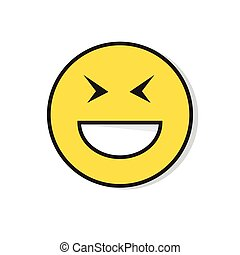 Yellow Smiling Face Laughing Positive People Emotion Icon...
