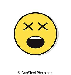 Yellow Sad Face Negative People Emotion Icon Flat Vector...