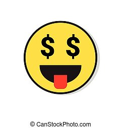 Yellow Smiling Face See Money Positive People Emotion Icon...