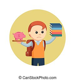 male student sad with his low collage financial in circle background