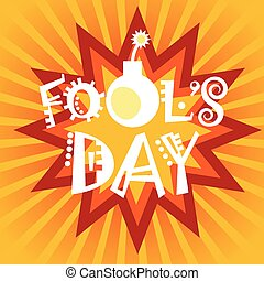 First April Fool Day Happy Holiday Greeting Card Flat Vector...