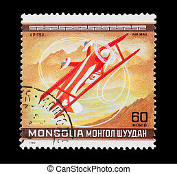 aerobatics - mail stamp printed in Mongolia featuring a Pits...
