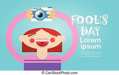 Cartoon Girl Holding Photo Camera Photography Blogger Flat...