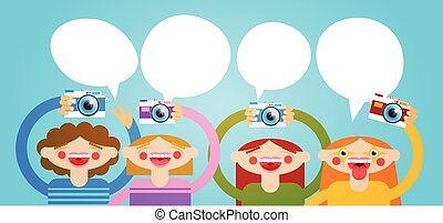 Cartoon People Group Holding Photo Camera Photography...