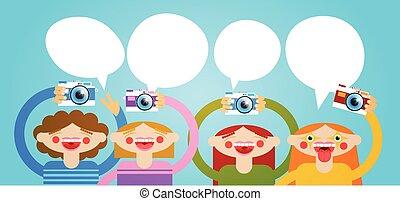 Cartoon People Group Holding Photo Camera Photography...