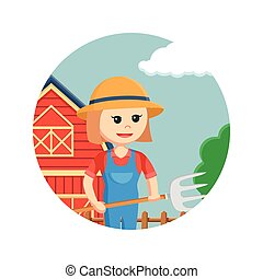 farmer woman holding pitchfork in circle background