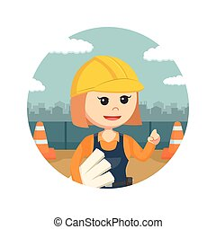 female construction worker holding blueprints in circle background