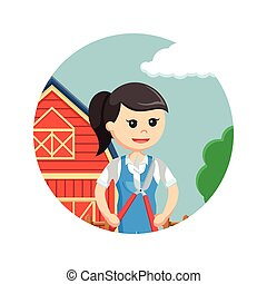 farmer woman holding pruning scissors in circle background