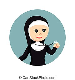 nun holding cross pendant in circle background